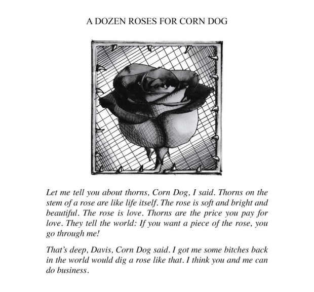 A Dozen Roses for Corn Dog, illustration from the book Penitentiary Tales, by EA Leutkemeyer
